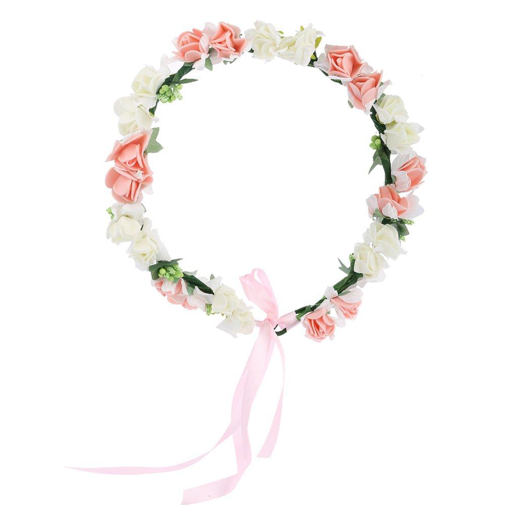 Amazon Meiliy Bridal Flower Garland Crown Flower Headband Hair