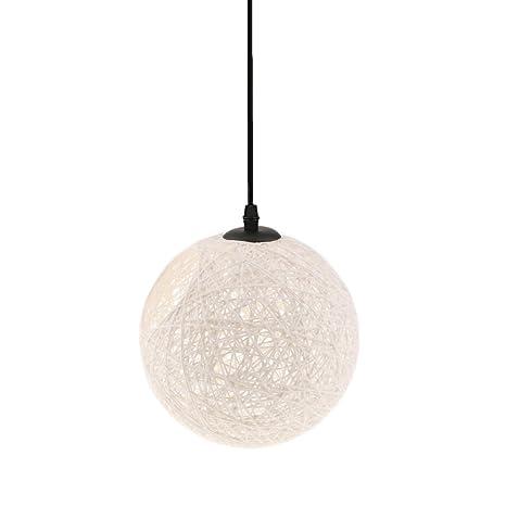 Gazechimp 20CM Lámpara de Techo Diseño con Bola con Agujero de Hierro + Bambú Rattan Accesorio Decorativo de Cafetería de Hogar - blanco