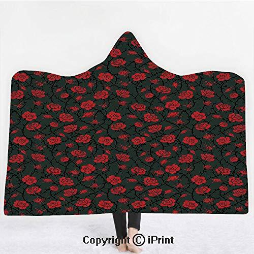 Red and Black 3D Print Soft Hooded Blanket Boys Girls Premium Throw Blanket,Rose Swirls Ivy Plants Dark Mysterious Forest Themed Pattern,Lightweight Microfiber(Kids 50