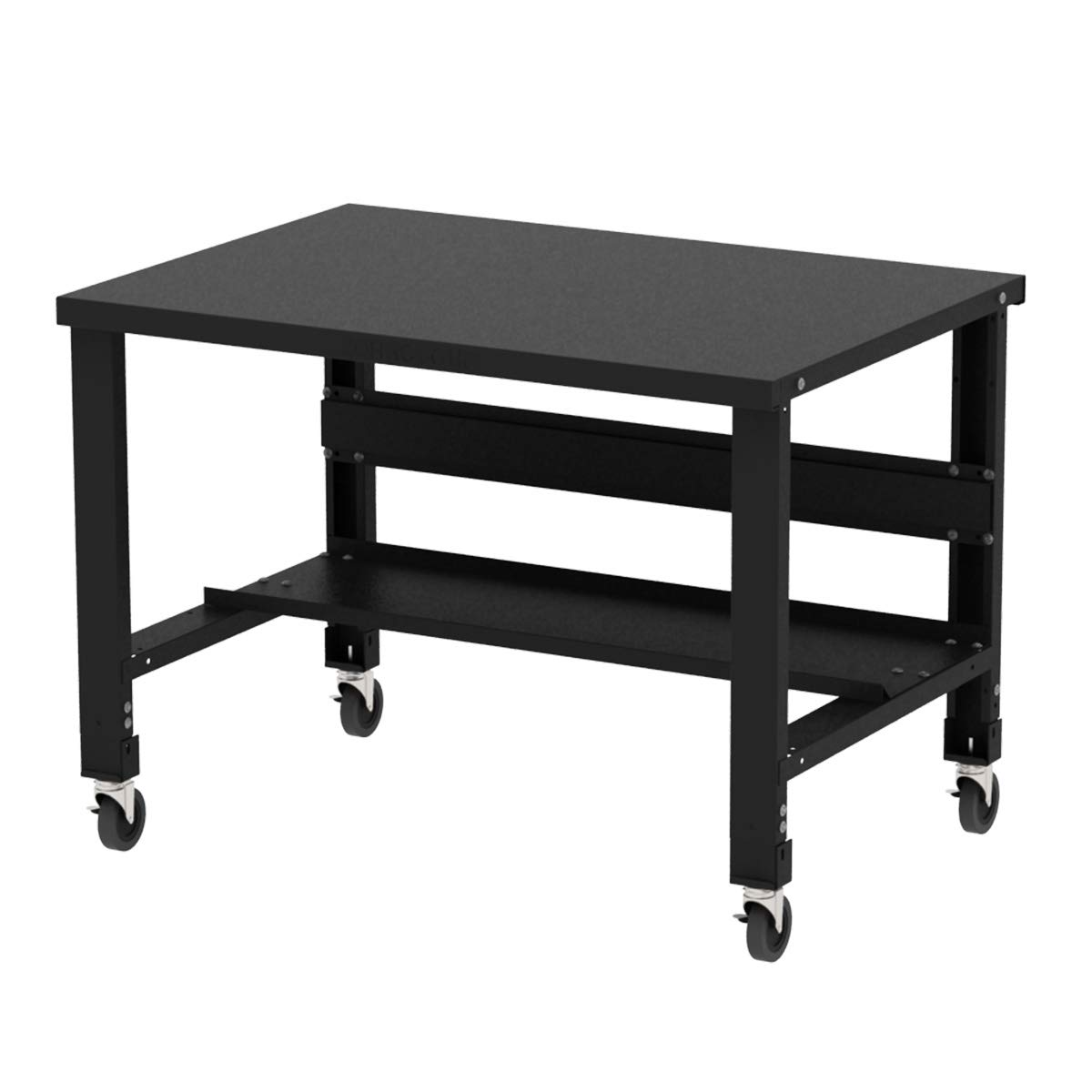Borroughs Adjustable Height Stainless Steel Top Workbench with Caster Kit, 34 in x 48 in