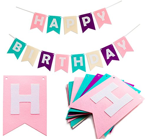 Happy Birthday Bunting Banners - Pastel Felt Letters Garland - Party Decoration Supplies with Colorful Sign by Kristin (Teenage Disco Clothes)