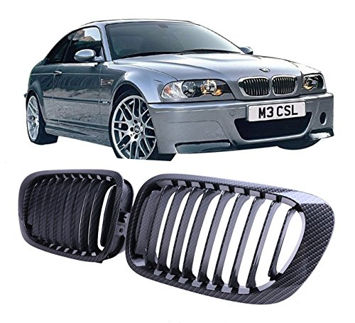Jade Onlines Carbon Fiber Black Front Center Kidney Grille Grilles Grill for BMW E46 2 Door 2D 3 Series 1998-2002 Coupe