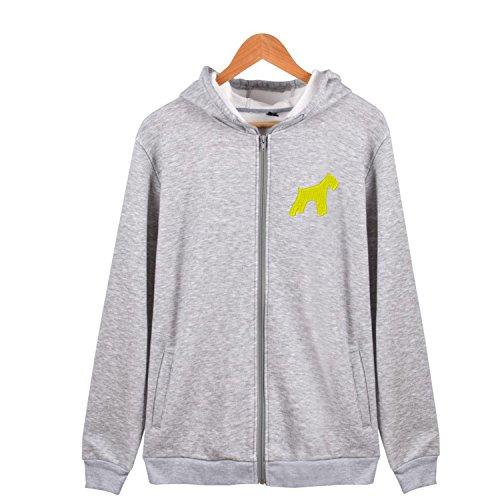 (Full-Zip Hoodie Casual Long Sleeve Sweatshirt Mini Miniature Schnauzer Dog Lightweight Jacket)