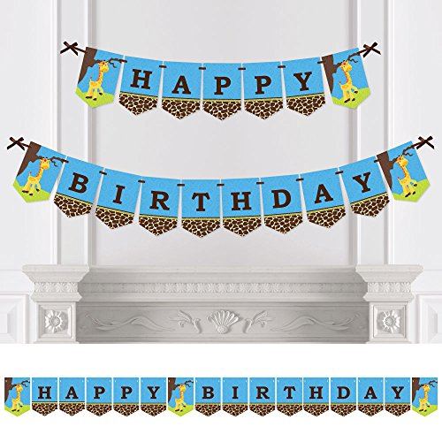 - Big Dot of Happiness Giraffe Boy - Birthday Party Bunting Banner - Blue Party Decorations - Happy Birthday