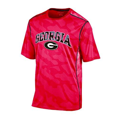 NCAA Georgia Bulldogs Boy's Short Sleeve Color Blocked Crew Neck T-Shirt, Medium, Red (Color Blocked Crew Neck Tee)