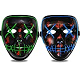 ORWINE Halloween LED Mask Light up Mask Led Purge Mask Scary Mask Halloween Cosplay Costume Party (Green + Blue)