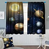 Art Decor Collection Thermal Insulating Blackout Curtain Solar System Orbit the Sun with Names Of Planets Geography Educational Picture Patterned Drape For Glass Door 52''x63'' YellowBlackDark BlueBrow