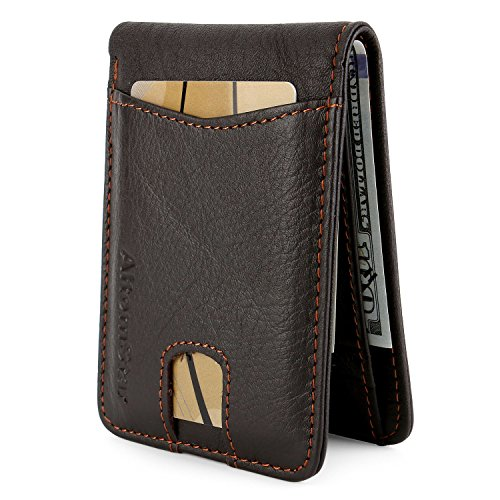 Genuine Cowhide (High-End Wallet for Men Genuine Cowhide Leather with RFID Blocking (Dark Brown#2))
