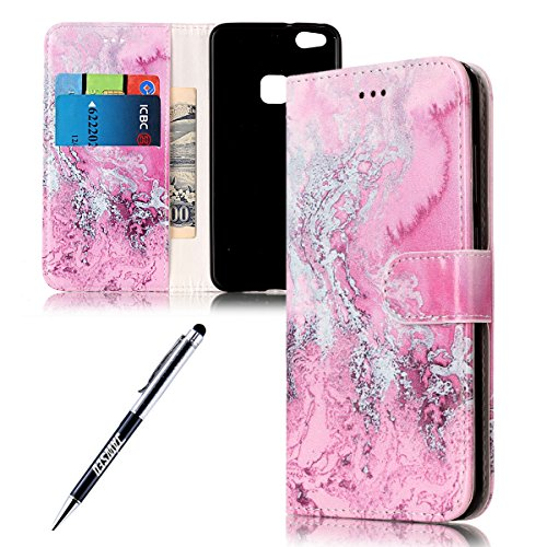 Funda Huawei P10 Lite, Carcasa Huawei P10 Lite, JAWSEU Huawei Ascend P10 Lite Estuche Carcasa Diseño de Libro de Cuero Billetera Impresión PU Premium y TPU Silicona Case pare Huawei Ascend P10 Lite Pr Granito Rosa
