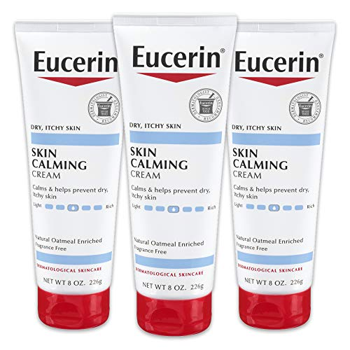 Eucerin Skin Calming Cream - Full Body Lotion for Dry, Itchy Skin, Natural Oatmeal Enriched - 8 oz. Tube (Pack of 3) ()