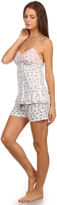 Womens 2 Piece Sleepwear Tank Top, Cami, Short Sleeve Pajama Set Shorts & Long Pants