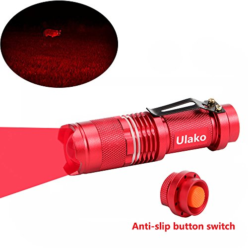 Ulako 150 Yards Single 1 Mode Red Light Adjustable Focus Zoom LED Flashlight Torch for Varmint Predator Coyote Hog Pig Hunting Coyote Varmint Predator