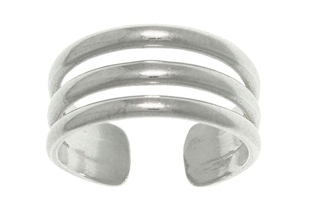 Jewelry Trends Sterling Silver 3-band Wide Adjustable Toe Ring or Midi Ring Pinky Ring 5091