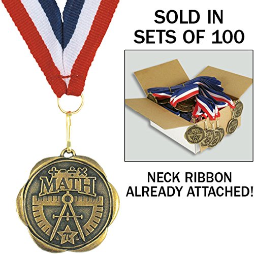 Set of 100 Award Medals with Neck Ribbons - Math by Jones School Supply Co., Inc.