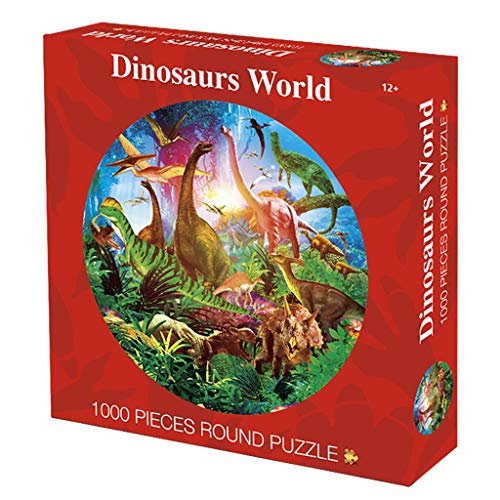Binory 1000pcs Dinosaurs World Round Puzzle,Challenge Capsules Jigsaw Puzzle Toy,Exploring with Dinosaurs in The Primeval Forest,Brain Game Birthday Gift for Kids Adults Seniors