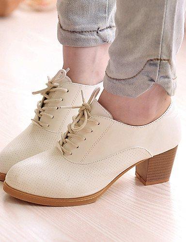 ZQ hug Zapatos de mujer - Tacón Robusto - Tacones - Tacones - Oficina y Trabajo / Vestido / Casual - Semicuero - Negro / Blanco , white-us5.5 / eu36 / uk3.5 / cn35 , white-us5.5 / eu36 / uk3.5 / cn35 white-us7.5 / eu38 / uk5.5 / cn38