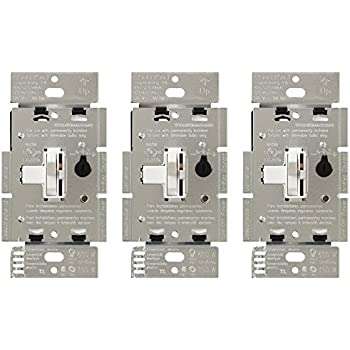 lutron tgcl 153ph wh toggler dimmer switch for led incandescent lutron tgcl 153p wh 3 toggler 150w single pole 3way led dimmer switch 3 pack white