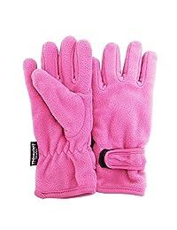 FLOSO Girls Childrens/Kids Plain Thermal Thinsulate Fleece Gloves (3M 40g) (4-8 years) (Pink)