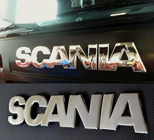 Sí mbolo/emblema de Scania con relieve 3D efecto espejo en acero inoxidable pulido para parte delantera de Scania R 2004-2009 ESK070