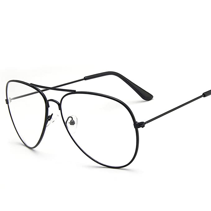 60814cb7d57 Scorpiuse Aviator Glasses Clear Lens Retro Metal Frame Eyeglasses (Black