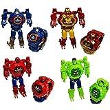 Bingo Captain America Figures Transformer Robot Toy Convert to Digital Wristwatch for Kids Avengers Deformation Watch (Mix)
