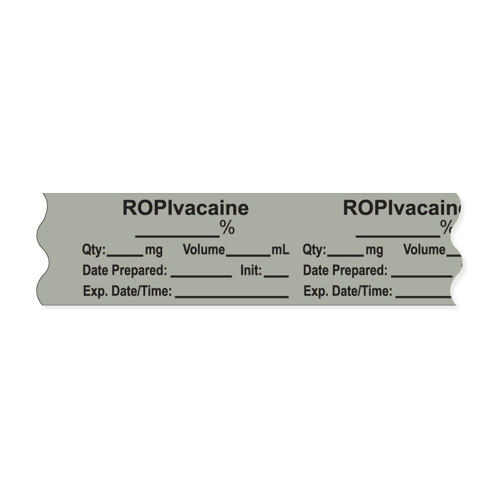 PDC Healthcare AN-2-32PC Anesthesia Tape with Exp. Date, Time, and Initial, Removable, ''ROPIvacaine ___%'', 1'' Core, 3/4'' x 500'', 333 Imprints, 500 Inches per Roll, Gray (Pack of 500)