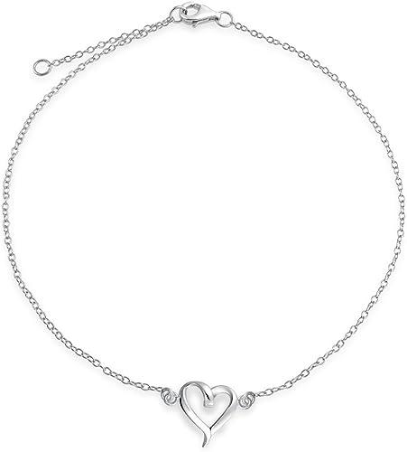 Argent sterling 925 chaîne femme réglable coeurs bracelet de cheville cadeau