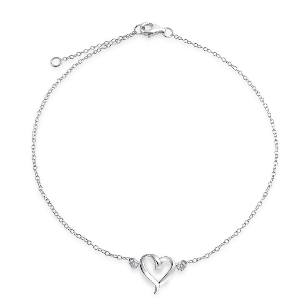 Bling Jewelry Sterling Silver Open Heart Adjustable Ankle Bracelet 10in APPL-JA-1309120