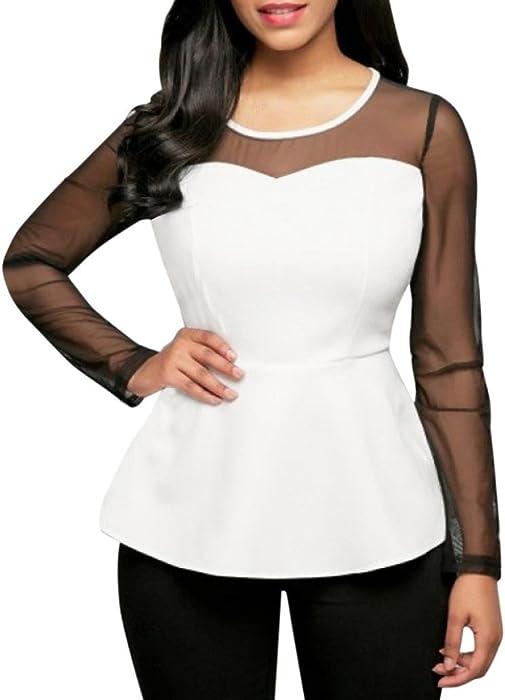 Siswong Elegante Blusa Blanca Mujer de Manga Larga Transparente Negra Encaje