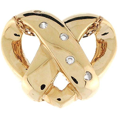 - 14k Yellow Gold Diamond Accents Unique Floating Heart 1.75cm Slide Pendant