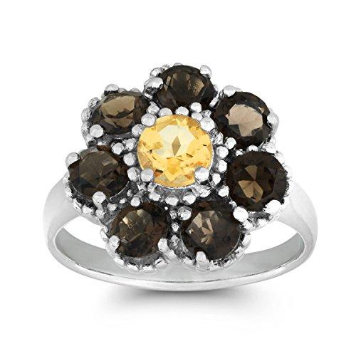 Beaux Bijoux Sterling Silver Smokey Topaz & Citrine Gemstone Flower Ring (Size 8) ()