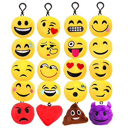 Price comparison product image X-Chiji 20 Pack Emoji Mini Plush Pillows, Keychain Decorations, Kids Party