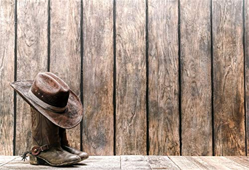 Laeacco Western Countryside Background 10x7ft Vinyl Photography Backdrops West Cowboy Hat Dirty Leather Boots Vintage Vertical Striped Wooden Barn Wall Background Farmer Personal Portraits Shooting