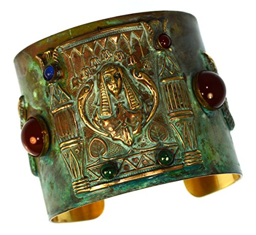 Patina Brass Egyptian Motif Pharaoh and Serpents Wide Cuff Bracelet - Carnelian, Lapis, Malachite (Egyptian Motif)