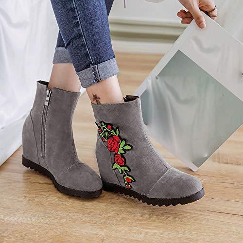 Hiver Femme Sauvages Manadlian Courtes Paresseuses Daim Boots Gris En Chaud Martin Chaussures Bottes Chaussons Femmes Brodées qf1AY