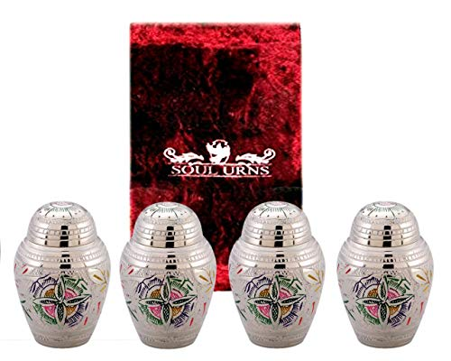 Funeral Keepsake Urns by SoulUrns - Lattice Flower Small Mini Keepsake Urns for Human Ashes - Set of 4 -Share Your Love with These High Quality Keepsake Urns - Velvet ()