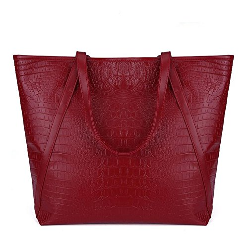 Red Croc Pattern (Casual Women Shoulder Bags PU Female Big Tote Bags for Ladies Handbag Large Capacity sac a main femme de marque (wine red)