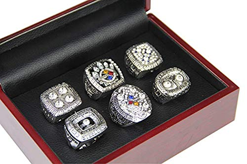 GF-sports store A Set of 6 Pittsburgh Steelers Super Bowl Championship Replica Ring by Display Box Set-(White) -
