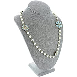 "Caddy Bay Collection Grey Linen Necklace Jewelry Display Stand Bust Figure 7.5"" x 5.125"" x 11"""