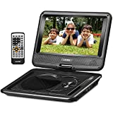 """UEME 9"""" Portable DVD Player CD Player with Car Headrest Mount Holder, Swivel Screen Remote Control Rechargeable Battery AC Adapter Car Charger, Personal DVD Player PD-0091 (Black)"""
