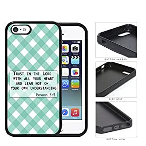 Proverbs 3:5 Bible Verse with Teal & White Stripes Diamonds Pattern [iPhone 5 5s] Rubber Silicone TPU Cell Phone Case