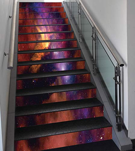 Stair Stickers Wall Stickers,13 PCS Self-adhesive,Space Decorations,Space Stars and Nebula Gas and Dust Cloud Celestial Solar Galacy System Print,Purple Red Orange,Stair Riser Decal for Living Room, H by SCOCICI