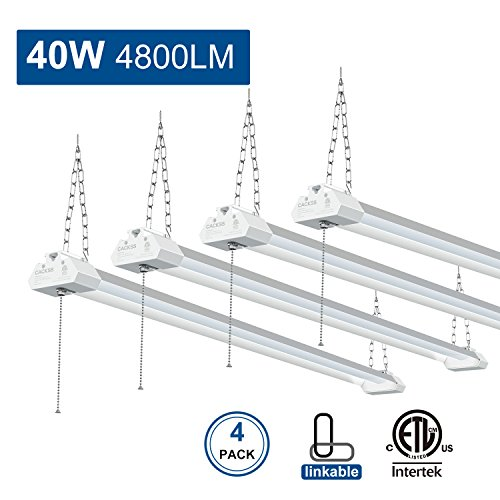 LED Shop Light for Garages, Linkable Workbeach Fixture, 40w 4800lm 4FT LED Ceiling Light with Pull Chain, 5000K Super Bright LED Utility Light, for Workshop Garage Basement Storage, ETL Listed, Pack 4
