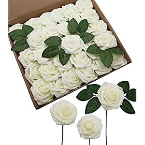 D-Seven Artificial Flowers 30PCS Real Looking Fake Roses with Stem for DIY Wedding Bouquets Centerpieces Party Baby Shower Home Decorations(Ivory) 14