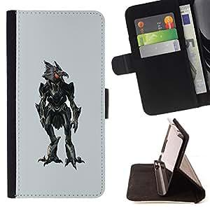 - Evil Robotic Chicken Robo - - Prima caja de la PU billetera de cuero con ranuras para tarjetas, efectivo desmontable correa para l Funny HouseFOR Sony Xperia Z2 D6502