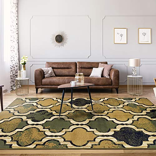 Superior Modern Viking Collection Area Rug, 10mm Pile Height with Jute Backing, Chic Textured Geometric Trellis Pattern, Anti-Static, Water-Repellent Rugs - Green, 5' x 8' ()