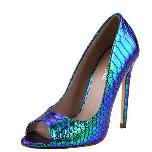 Bella Marie Mujeres Open Peep Toe Stiletto Tacón Alto Suela Única Slip On Sandalia De La Bomba Zapatos Blue Snake