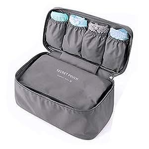 Toyoo Fashion Portable Multi-Functional Travel Organizer Cosmetic Make-up Bag Luggage Storage Case Bra Underwear Pouch (Grey)