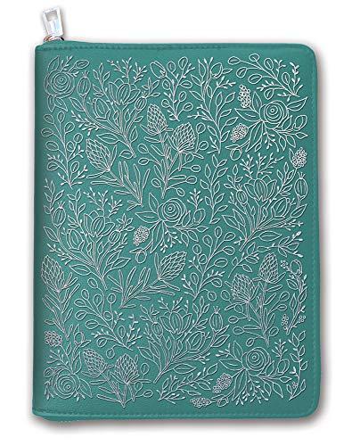 Orange Circle Studio 2020 Leatheresque Zip-Around Folio + Agenda Set, August 2019 - December 2020, Floral Vines Caribbean Blue ()