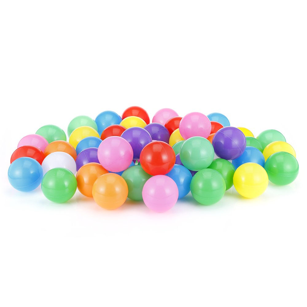 Kidsidol Colorful Ball Soft Elastic Plastic Ocean Ball Fun Toy Baby Toddler Children Swim Pit Toy Ball Shower Toy (Colormix) (7cm 100pcs)